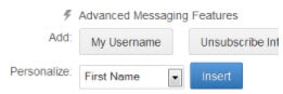 Personalization Text Messaging Feature