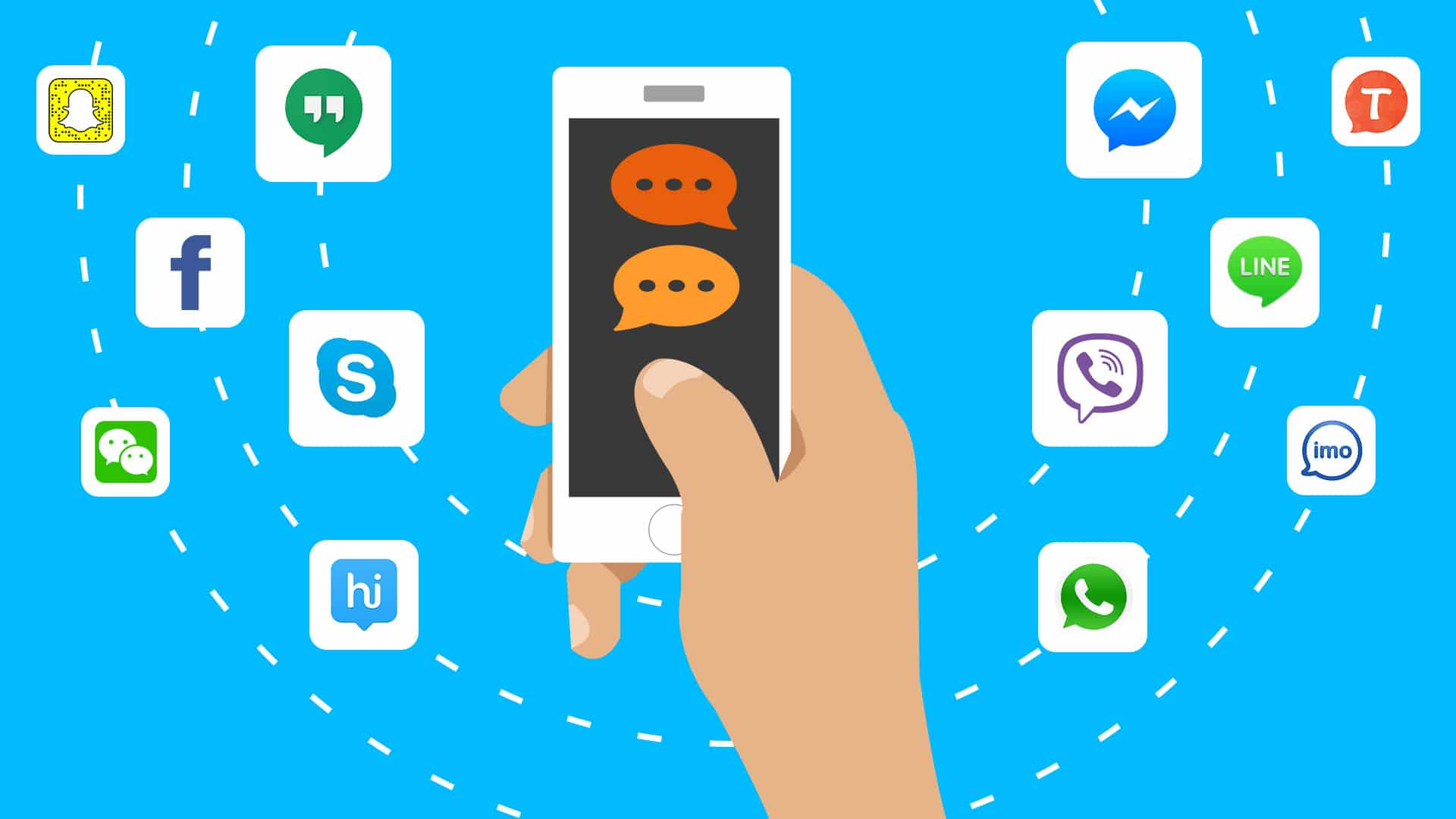 Hand Holding Mobile With Messaging Apps